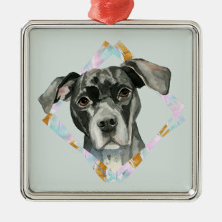 """All Ears"" Pit Bull Dog Watercolor Painting Metal Ornament"