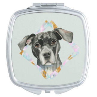 """""""All Ears"""" Pit Bull Dog Watercolor Painting Mirrors For Makeup"""