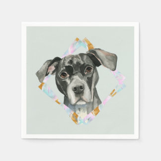 """All Ears"" Pit Bull Dog Watercolor Painting Napkin"