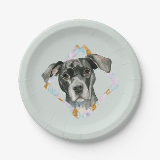 """All Ears"" Pit Bull Dog Watercolor Painting Paper Plate"