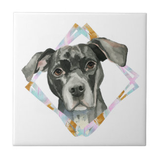 """All Ears"" Pit Bull Dog Watercolor Painting Tile"