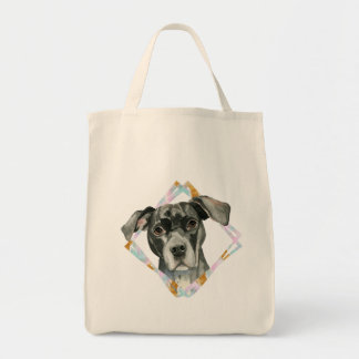 """""""All Ears"""" Pit Bull Dog Watercolor Painting Tote Bag"""