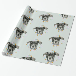 """All Ears"" Pit Bull Dog Watercolor Painting Wrapping Paper"