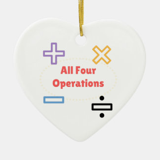 All Four Operations Ceramic Heart Ornament