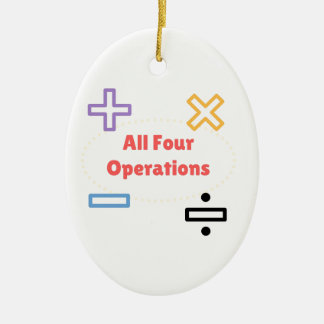 All Four Operations Ceramic Oval Ornament