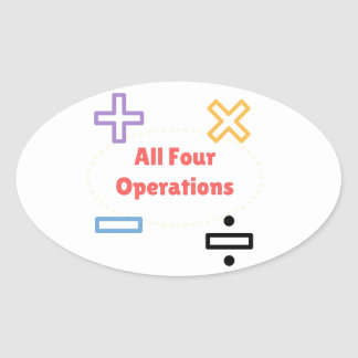 All Four Operations Oval Sticker