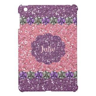 All Girl Pink Purple Glitter Gem Look Personalized iPad Mini Cover