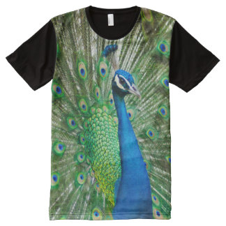 All God's Creatures Peacock Print All-Over-Print T-Shirt