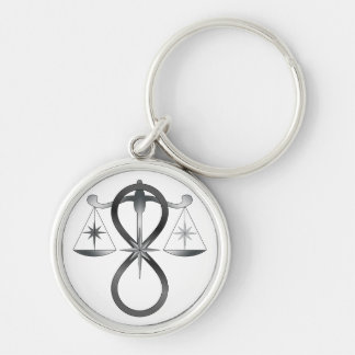 All Gods Universal Power Monochrome Symbol Silver-Colored Round Keychain