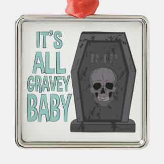 All Gravey Baby Silver-Colored Square Ornament