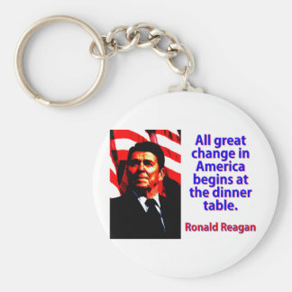 All Great Change In America - Ronald Reagan Basic Round Button Keychain