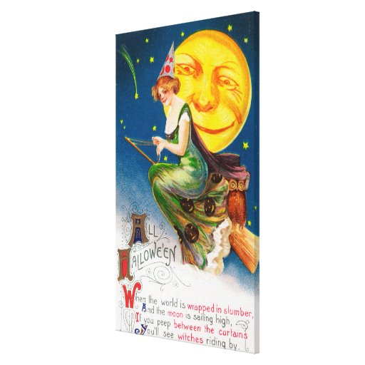 All Halloween Witch on a Broom by Full Moon Stretched Canvas Prints