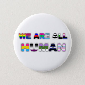 All Human White 2 Inch Round Button