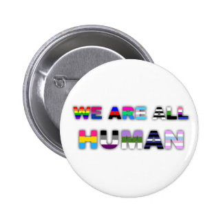 All Human White 2 Inch Round Button