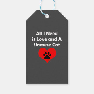 All I Need is Love and A Siamese Cat Pack Of Gift Tags