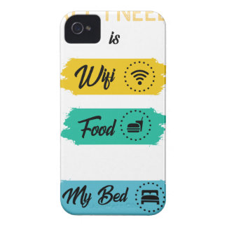 All I Need Is Wifi Food & My Bed Funny iPhone 4 Case-Mate Case