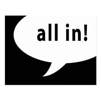 all in! comic speech bubble postcard