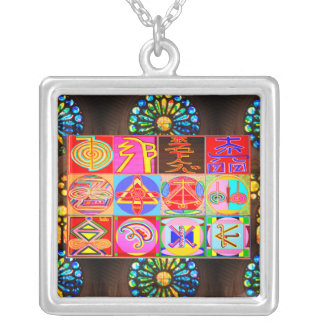 ALL IN ONE : Karuna and  Reiki Healing Symbols Silver Plated Necklace