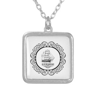 all in the same boat silver plated necklace
