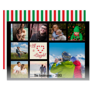 All is Bright Candy Cane Heart Script Collage Card