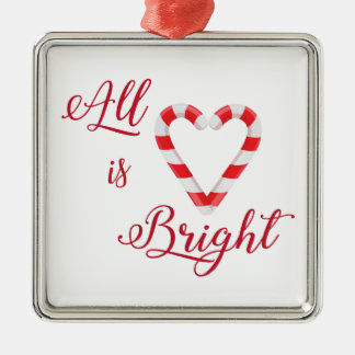 All is Bright Christmas Candy Cane Heart Silver-Colored Square Ornament