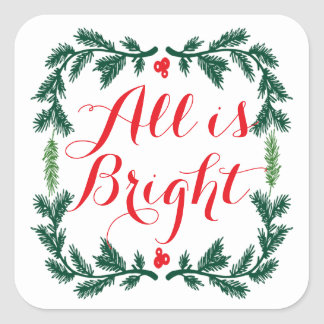 All is Bright Pine Wreath Stickers