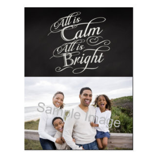 All is Calm, All is Bright Chalkboard Christmas Postcard