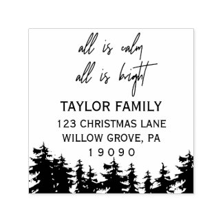 All Is Calm All Is Bright Christmas Return Address Self-inking Stamp