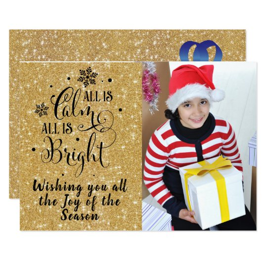 All is Calm/Christmas Quote/2-Sided Card/Gold bkg Card