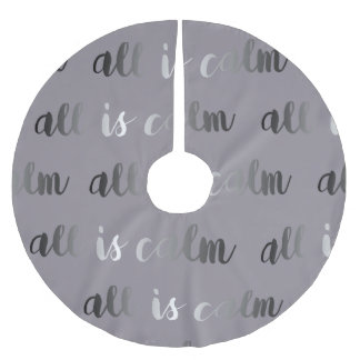 All is Calm Dusty Purple and Silver Christmas Brushed Polyester Tree Skirt