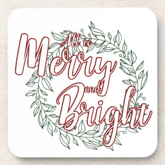 All is Merry and Bright (Plain) Coaster