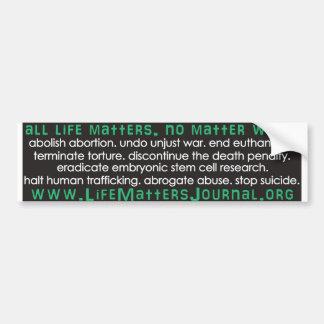 All Life Matters - List Bumper Sticker