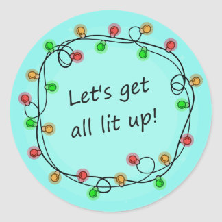 """All Lit Up"" funny Christmas party stickers"