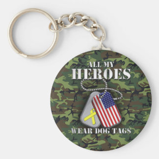 All My Heroes Wear Dog Tags - Camo Basic Round Button Keychain