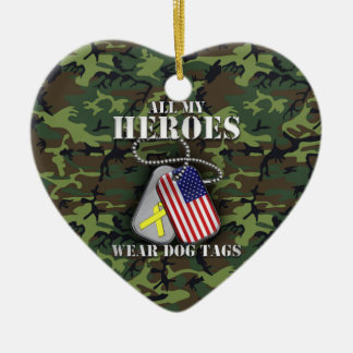 All My Heroes Wear Dog Tags - Camo Ceramic Heart Ornament