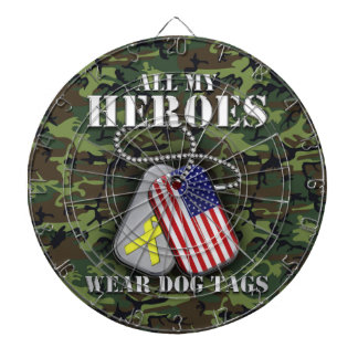 All My Heroes Wear Dog Tags - Camo Dartboard With Darts