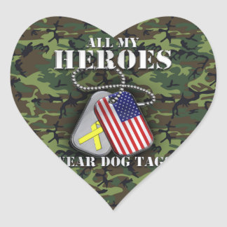 All My Heroes Wear Dog Tags - Camo Heart Sticker