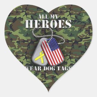 All My Heroes Wear Dog Tags - Camo Heart Sticker