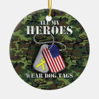 All My Heroes Wear Dog Tags - Camo Round Ceramic Ornament