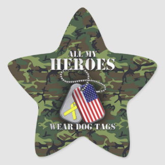 All My Heroes Wear Dog Tags - Camo Star Sticker