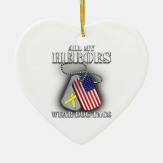 All My Heroes Wear Dog Tags Ceramic Heart Ornament