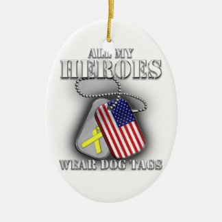 All My Heroes Wear Dog Tags Ceramic Oval Ornament