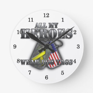 All My Heroes Wear Dog Tags Round Wallclock