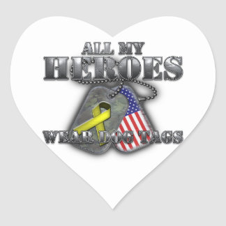 All My Heroes Wear Dog Tags Heart Sticker
