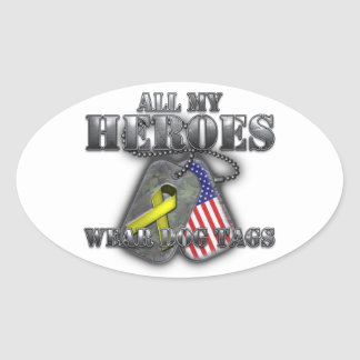 All My Heroes Wear Dog Tags Oval Sticker