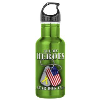 All My Heroes Wear Dog Tags 18oz Water Bottle