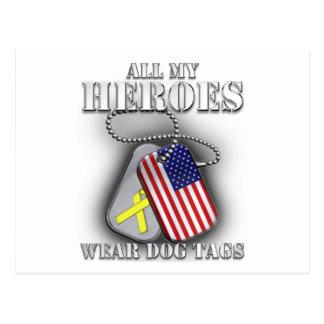 All My Heroes Wear Dog Tags Postcard