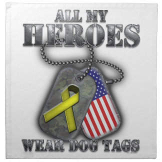 All My Heroes Wear Dog Tags Printed Napkins