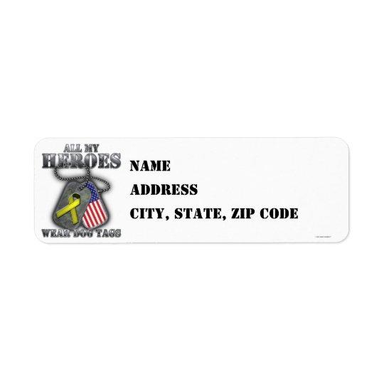 All My Heroes Wear Dog Tags Return Address Label