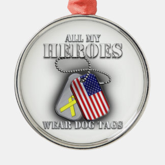 All My Heroes Wear Dog Tags Silver-Colored Round Ornament
